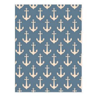 Retro Vintages blaues weißes Anker-Muster Postkarte
