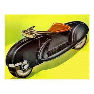 Retro Vintages Fünfzigerjahre Motorrad der Zukunft Postkarte