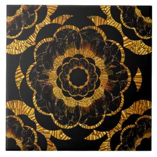 Retro Vintages goldenes Mandala-Blumen-Schwarzes Große Quadratische Fliese