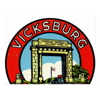 Retro Vintages Kitsch-Abziehbild Vicksburg Postkarte
