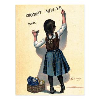 Retro Vintages Kitsch-Schokolade Chocolat Mädchen Postkarte
