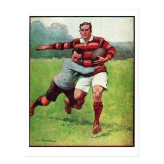 Retro Vintages Sport-Englisch-Rugby Postkarte