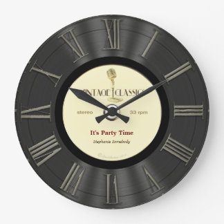 Retro Vinylaufzeichnungs-Druckentwurf Große Wanduhr