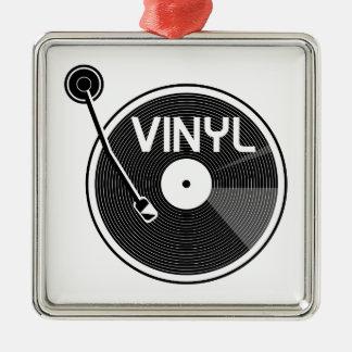 Retro Vinylaufzeichnungs-Turntable Silbernes Ornament