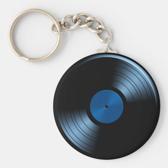 Retro VinylRekordalbum im Blau Standard Runder Schlüsselanhänger