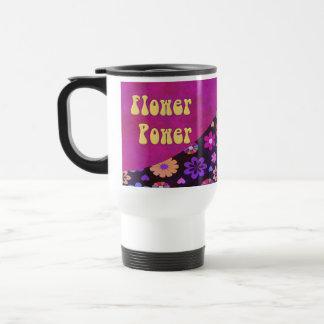 Rétro voyage super de flower power 60s les années mug de voyage en acier inoxydable