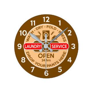 Retro Waschsalon-Uhr Runde Wanduhr