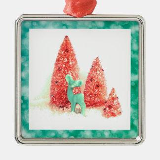 Retro Weihnachtsrotwild mit Aqua-Rahmen Silbernes Ornament