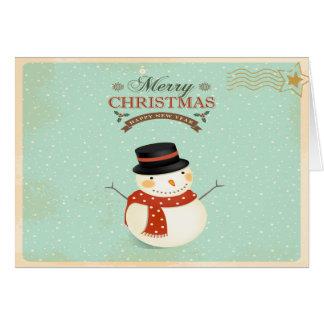 Retro WeihnachtsSchneemann-Gruß-Karte Grußkarte