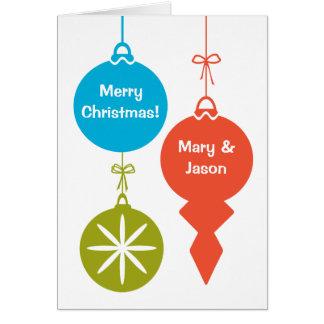 Retro Weihnachtsverzierungen fertigen mit Namen Karte