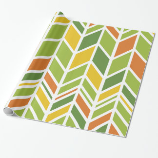 "Retro Zickzack-orange grünes Packpapier 30"" x 6'"