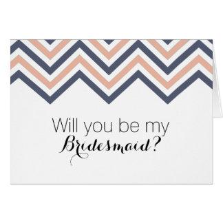 Retro Zickzack Wille sind Sie meine Brautjungfer? Karte