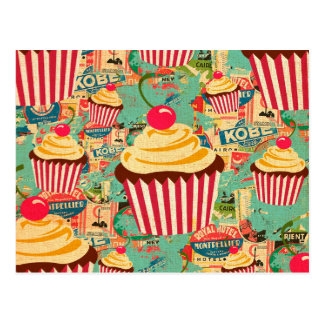 Retro Zirkus-kleine Kuchen Postkarte