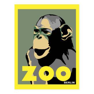 Retro Zoo-Berlin-Affereisewerbung Postkarte