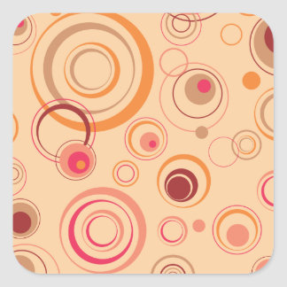 Rétros cercles espiègles roses sticker carré