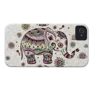 Rétros fleurs et éléphant de couleurs en pastel étuis iPhone 4