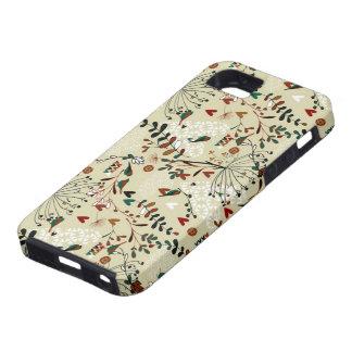 Rétros fleurs et oiseaux tirés par la main en coque iPhone 5