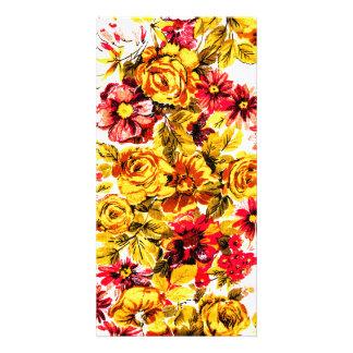 Rétros fleurs jaunes et rouges photocarte personnalisée
