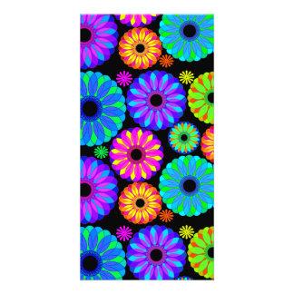 Rétros motifs de fleur colorés sur l'arrière - pla photocartes