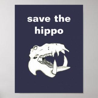 Retten coole Hand gezeichneter Flusspferd-Schädel Poster