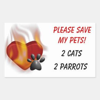 Retten Sie bitte meine Haustiere! Rechteckiger Aufkleber