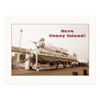 Retten Sie Coney-Insel! (Sepia) Postkarte