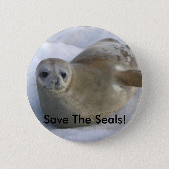 Retten Sie das Siegel! Knopf Runder Button 5,7 Cm