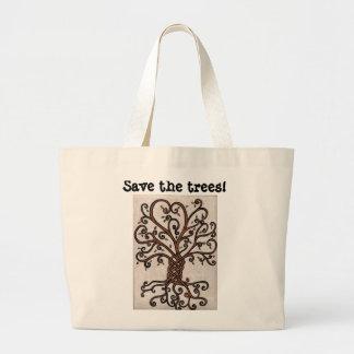 Retten Sie die Baum-Tasche mit Baum des Lebens Jumbo Stoffbeutel