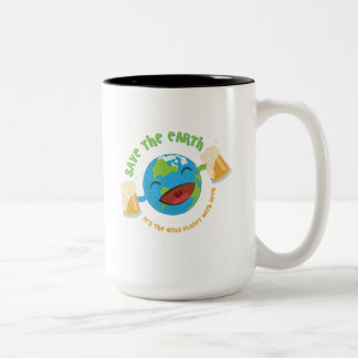 Retten Sie die Erde Zweifarbige Tasse