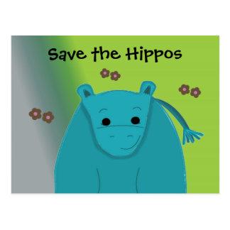 Retten Sie die Flusspferde - blauen Hippopotamus Postkarte