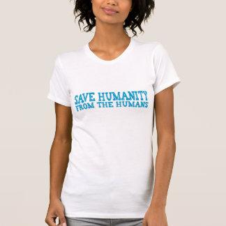 Retten Sie Menschlichkeit von den Menschen (blau) T-Shirt