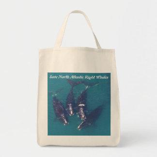 Retten Sie Nordatlantik rechte Wale durch Einkaufstasche