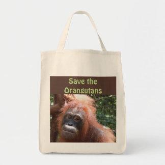 Retten Sie Orang-Utan gefährdete wild lebende Tragetasche