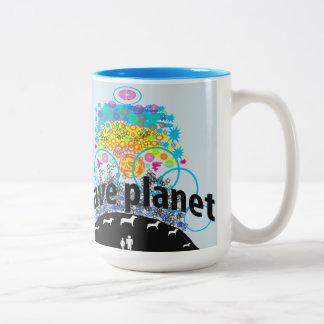 Retten Sie Planeten Zweifarbige Tasse