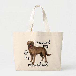 Rettungs-Schokoladen-Labrador Jumbo Stoffbeutel