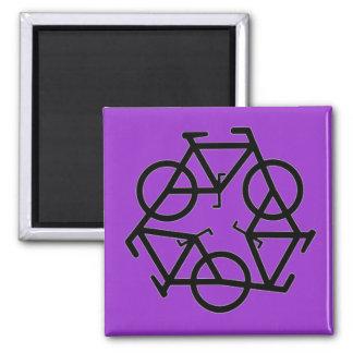 Réutilisez le symbole de logo de bicyclette magnet carré