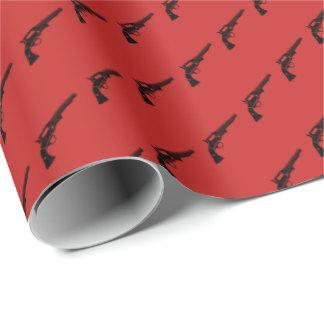 Revolver deckte Rot mit Ziegeln Geschenkpapier