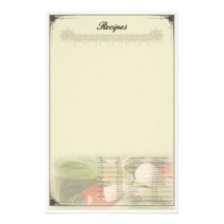 Rezept-Briefpapier Unruled Briefpapier