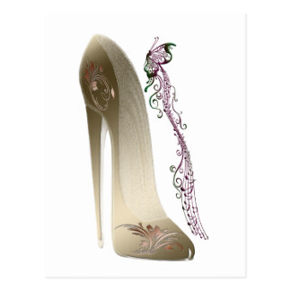 Rhapsodie in der GoldStilett-Schuh-Kunst Postkarte