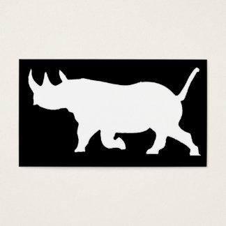 Rhino-Silhouette, links Einfassung, schwarzer Visitenkarte
