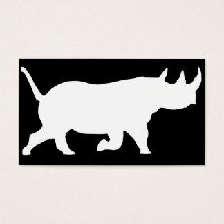 Rhino-Silhouette, rechte Einfassung, schwarzer Visitenkarte