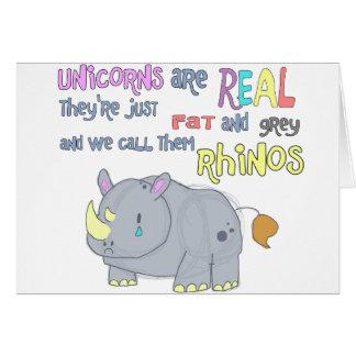Rhinos sind gerade hässliche Einhornkarte Karte
