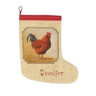 Rhode Island Rot-Hahn-Gelb-Hintergrund Großer Weihnachtsstrumpf