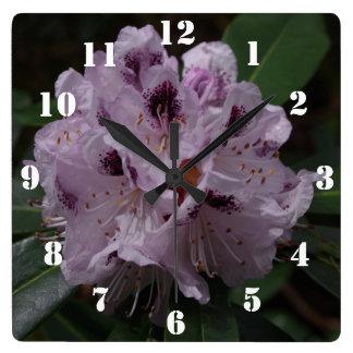 Rhododendron-Blumen-Uhr Quadratische Wanduhr