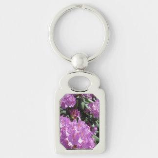 Rhododendron-lila Grün Silberfarbener Rechteckiger Schlüsselanhänger