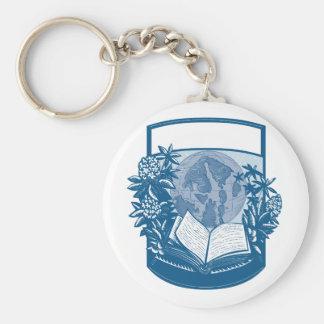 Rhododendron-Schwertwal-Insel-Buch-Holzschnitt Schlüsselanhänger