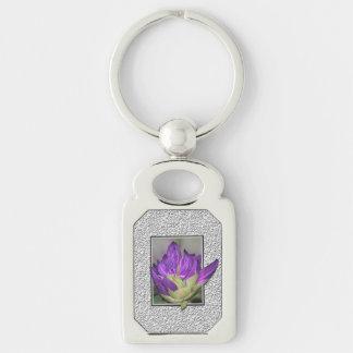 Rhododendron Silberfarbener Rechteckiger Schlüsselanhänger