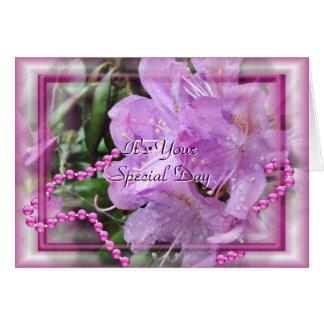 Rhododendron u. Perlen fertigen jede mögliche Karte