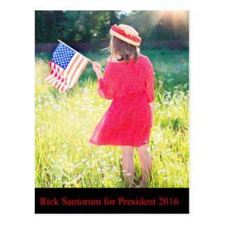Rick Santorum für Präsidenten 2016 Postkarte