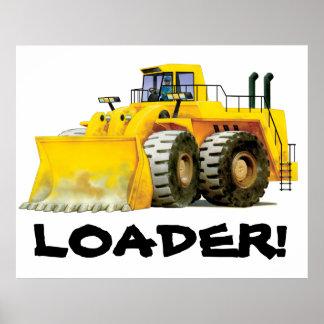 Riese scherzt gelben Baggerbau-LKW Poster
